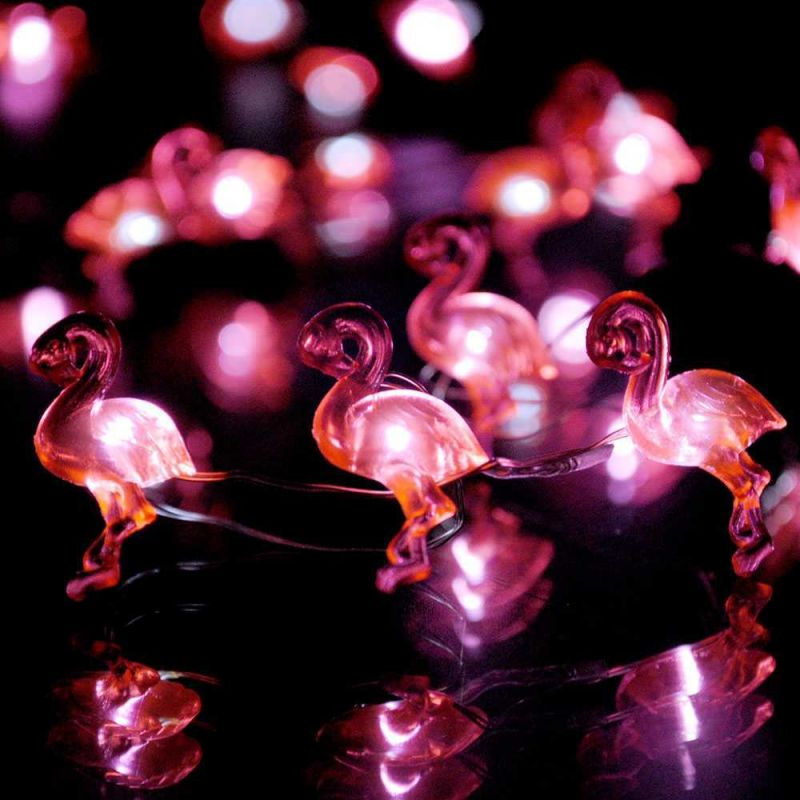 Red Flamingo String Lights 10 ft. Copper Wire 50 LEDs with Remote ...