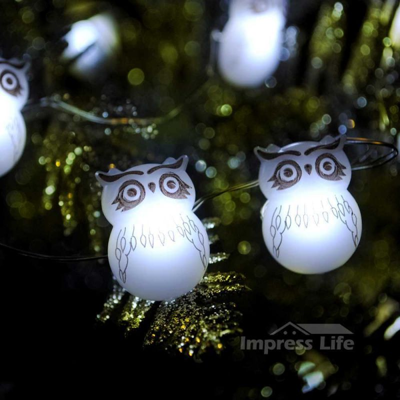 snow owl led string lights 10 ft copper wire 40 leds with remote for thanksgiving christmas eve outdoor indoor home parties decorations - Outdoor Owl Christmas Decorations