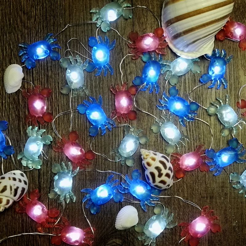 Big Crab Icon LED String Lights Battery Powered By IMPRESS LIFE Copper  Flexible Wire 10 Ft 30 LEDs With Remote Control For Covered Outdoor,  Indoor, ...