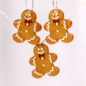 Christmas Decoration, Gingerbread Man New Year Decorative String Lights Battery Operated 10 ft 20 LEDs (Big Icon) with Remote for Xmas Tree, DIY Home Office School Birthday Wedding Party