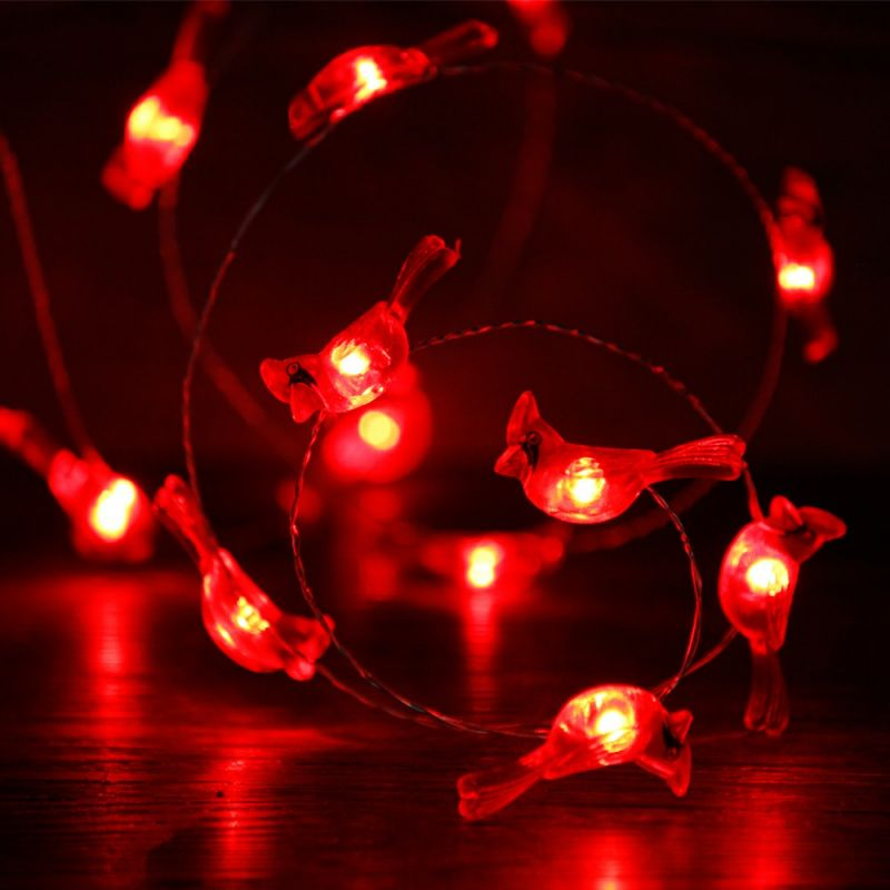 Elegant Christmas Red Snow Bird String Lights 0 Ft Copper Wire 40 LEDs With Remote  Control For Wedding, Birthday, Covered Outdoor, Indoor Home Parties Photo